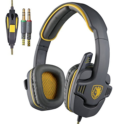 GW SADES SA708 3.5mm Surround Sound Wired Over-the-Ear Gaming Headset With Microphone (Yellow)