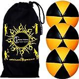 Flames N Games Astrix Uv Thud Juggling Balls Set Of 3 (Black/Orange) Pro 6 Panel Leather Juggling Ball Set & Travel...