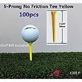 100pcs A99 Golf 5-Prong No Friction Tees 2 3 4 Yellow Color - Longer Straighter Drives