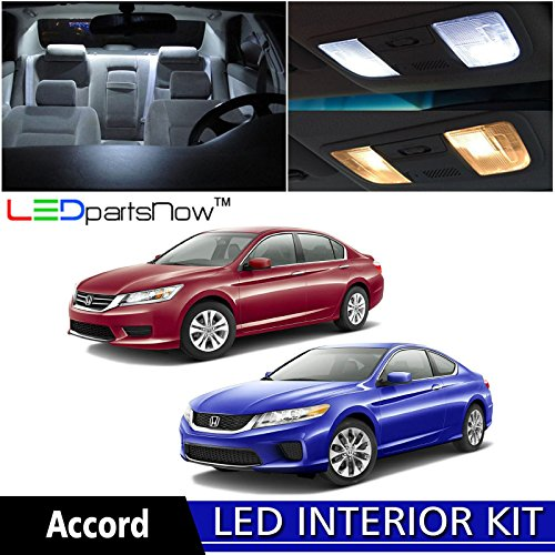 LEDpartsNow Honda Accord 2013 – 2016 Xenon White Premium LED Interior + License Plate Tag Lights Package Kit (8 Pieces) + Install Tool