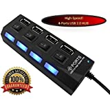 Highspeed USB 2.0 - 4 Port Hub Power Adapter Black With Power Switches And LED Lights Hot Plugin Plug & Play For...