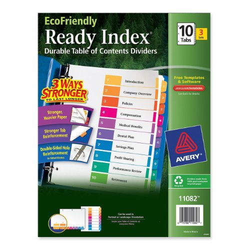 EcoFriendly Ready Index Table of Contents Divider, Multicolo
