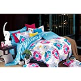 Bianca Damaris Cotton Double Bedsheet With 2 Pillow Covers - Bright Blue