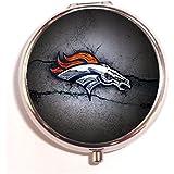 2014 Denver Broncos Round Fashion Pill Box Medicine Tablet Holder Organizer Case For Pocket Or Purse