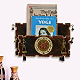 ExclusiveLane Elegant Dhokra & Warli Magazine Cum Newspaper Stand In Mango Wood-Home Organizer