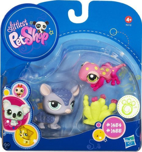 Littlest Pet Shop 2010 Assortment 'A' Series 3 Collectible Figure Armadillo & Pink Gecko With Cactus
