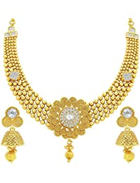 Sukkhi Royal Jalebi & Invisible Setting Gold Plated American Diamond Necklace Set For Women