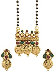 Voylla Temple Inspired Single Chain Mangalsutra Set With Red And Green Colored Stones