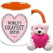 Mug For Sister - HomeSoGood World's Okayest Sister White Ceramic Coffee Mug With Teddy - 325 Ml