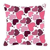 MeSleep Digitally Printed Heart Valentine Cushion Cover - Purple