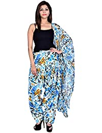 FASHION STORE Women Printed Cotton Full Multi-Colore Patiala Salwar With Dupatta(Free Size,Blue Color)