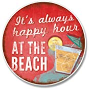 """Happy Hour At The Beach Auto Coaster 2.6"""" Round X .3"""" D"""