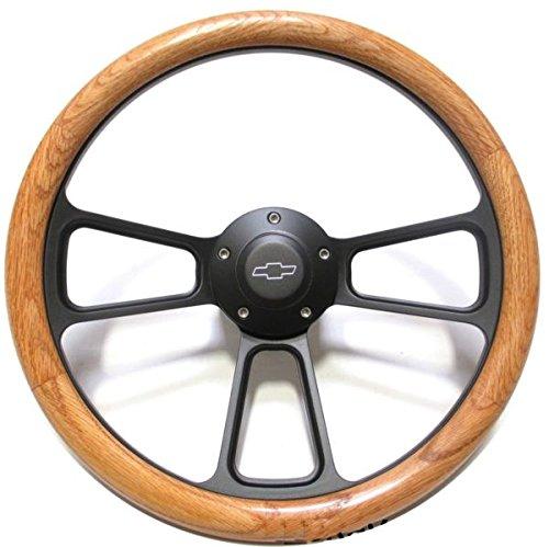 1960 – 1969 Chevy C10 Pick-Up Truck Oak Steering Wheel & Black Billet Adapter