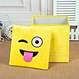 MSE Cartoon Cheap 2 In 1 Kids Toy Storage Box Chair Fashion Custom Soft Plush Whatsapp Emoji Home Foldable Storage Box (Pack Of 1)