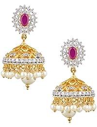Swasti Jewels American Diamond CZ Zircon Fashion Jewellery Traditional Ethnic Jhumki Earrings For Women