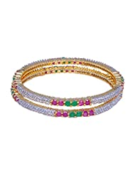 Gehna Beautiful Pair Of Bangles Made In Metal Studded With Emerald Ruby & A.D Stones