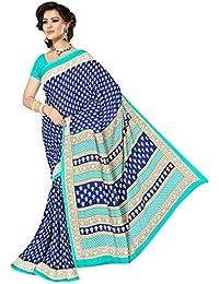 Viva N Diva Women's Navy Blue & Rama Colored Weightless Saree