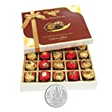 Chocholik Luxury Chocolates - 20pc Unique Combination Of Wrapped Chocolate Box With 5gm Pure Silver Coin - Diwali...