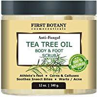 100% Natural Anti Fungal Tea Tree Oil Body & Foot Scrub 12 Oz. With Dead Sea Salt - Best For Acne, Dandruff And...