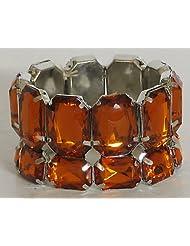 Stone Studded Stretchable Link Bracelet - Stone And Metal