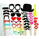 Christmas Decoration Colorful Photo Booth Props Set Of 32 Mustache On A Stick Wedding Party Photobooth Funny Masks...