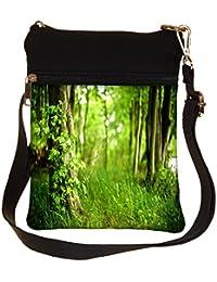 Snoogg Green Grass Cross Body Tote Bag / Shoulder Sling Carry Bag