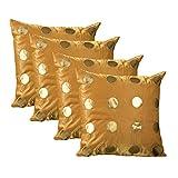 ExclusiveLane Polka Dots Silk Cushion Cover - Set Of 4