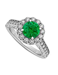 Emerald And CZ Halo Engagement Ring In 925 Sterling Silver 1.50 CT TGW