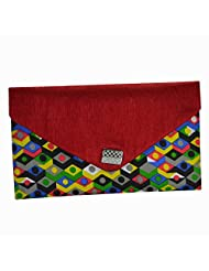 Arisha Kreation Co Women Hand Made Printed Cotton Envelope Clutch (Red & Multicolor)