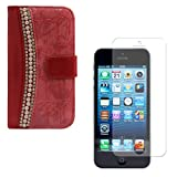 DMG Glitter Rhinestone Pearl PU Leather Magnetic Wallet Flip Stand Cover Case For Apple IPhone 5/5S (Pink) + Matte...