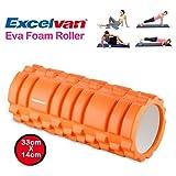 Excelvan Schaumstoffrollen Yoga Foamroller Massagerolle Selbstmassagerolle Fitnessrolle Farben auswählbar 33x14cm zur effektiven Selbstmassage Orange -