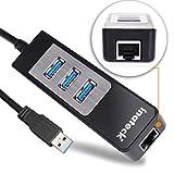 [3ポートUSB 3.0+1ポートRJ45]Inateck USB3.0 3ポートUSBハブ + LANアダプター 10/100/1000BASE-T ギガビットイーサネット対応、バスパワー、USB2.0/1.1にも互換性あり MacBook Air動作確認済