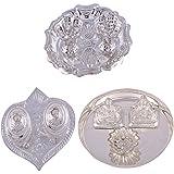 GS MUSEUM Silver Plated Rani Kumkum Plate, Silver Plated Pan Kumkum Plate And Silver Plated Mini Ganesh Laxmi...