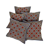 Rajrang Home Decor Blue Cotton Embroidered Cushion Cover - B00UYII1E0