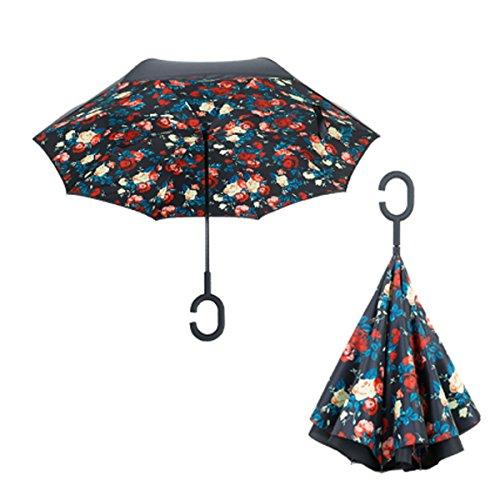 RAIN QUEEN Parapluie Canne Ouverture Inversé Double Toile Imprimé +C Poignée Grand Taille Dimension 110cm pour 2 personnes (Fleur)