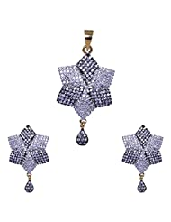 Gehna American Diamond Studded Pendant & Earring Set With Black Rhodium