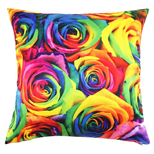 Square Rainbow Art Rose Floral Cushion Cover ChezMax Polyester