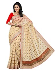 Beige Color Tusser Silk Jacquard Saree With Blouse
