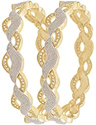 Awww Precious American Diamond Designer Gold Plated Bangle Jewellery For Women / Girls Set Of 2