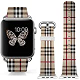 Apple Watch Band 38mm Replacement Band Genuine Leather Iwatch Strap With Silver Metal Clasp For IWatch 38mm Beautiful...