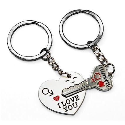 Heart Key Keychain Set