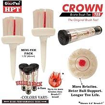 GolfPro Golf Pro HPT Series CROWN-TEE Mini-Tee Brush Golf Tee Set (Value 3-Pack)