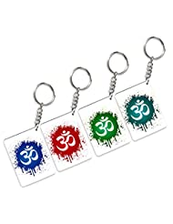 Tiedribbons-Gifts For Diwali Different Color Omm Set Of 4 Wodden Keychain