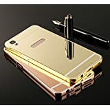 StyleMyBot Luxury Metal Bumper Acrylic Mirror Back Cover Case For Oppo F1 Plus - Gold Plated