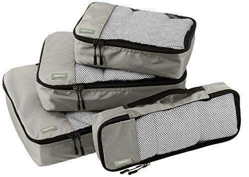 AmazonBasics Lot de 4 sacoches de rangement pour bagage Tailles S/M/L/Slim, Gris