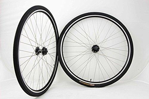 700c Disc Brake Rim Brake Road Hybrid Cross Bike Wheel Set with 700 x 32 Kenda Kwick Trax Tiires and Tubes