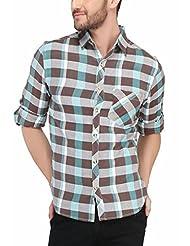Nick&Jess Mens Blue Flannel Checkered Shirt
