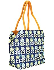 Mpkart Multi Color Flower Print Jute Bag - B01KV1LCY0
