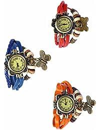 Felizer Fancy Multi Strap Vintage Analog Butterfly Bracelet Watch For Women & Girls (Red, Blue & Orange) - (Pack...