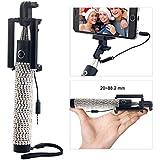 Bling Selfie Stick, Konsait Self-portrait Monopod Foldable Extendable Selfie Stick With Built-in Remote Shutter...